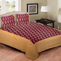 Cotton Printed Double Bedsheet With Pillow Cover-P72JPBA18456A