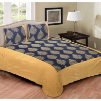 Cotton Printed Double Bedsheet With Pillow Cover-P72JP961B13A4