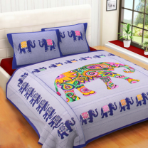 WCL - Cotton Printed Double Bedsheet With Pillow Covers-I34JP17C7C992