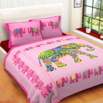 WCL - Cotton Printed Double Bedsheet With Pillow Covers-I34JP4F5AC105