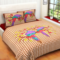 WCL - Cotton Printed Double Bedsheet With Pillow Covers-I34JP4ADC7486