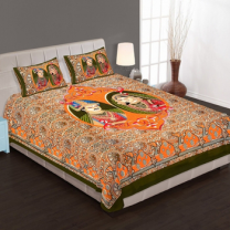 WCL - Cotton Printed Double Bedsheet With Pillow Covers-I34JP0DBF2B33