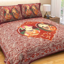 WCL - Cotton Printed Double Bedsheet With Pillow Covers-I34JPCB3C5ED4