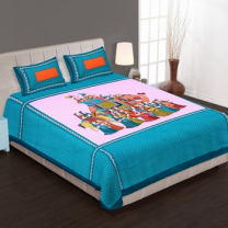 WCL - Cotton Printed Double Bedsheet With Pillow Covers-I34JPAD9B6667