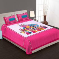 WCL - Cotton Printed Double Bedsheet With Pillow Covers-I34JP20DB17D0