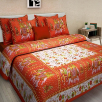Saba - Cotton Printed Double Bedsheet With Pillow Cover-U09JP76767279