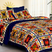 Saba - Cotton Printed Double Bedsheet With Pillow Cover-U09JP0BB08D55