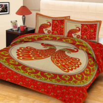 Saba - Cotton Printed Double Bedsheet With Pillow Cover-U09JPC534C9E3
