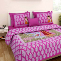 Saba - Cotton Printed Double Bedsheet With Pillow Cover-U09JP54930F4A