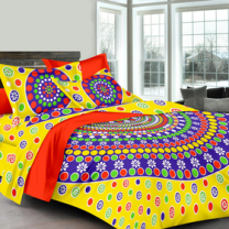 Priyam - Cotton Printed Double Bedsheet With Pillow Cover-Z21JP7D6AF197