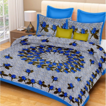 Priyam - Cotton Printed Double Bedsheet With Pillow Cover-Z21JP38FB75C8