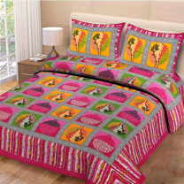 Priyam - Cotton Printed Double Bedsheet With Pillow Cover-Z21JPBE4D3263