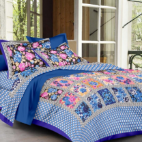 Priyam - Cotton Printed Double Bedsheet With Pillow Cover-Z21JPD437AB09