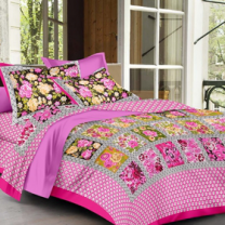 Priyam - Cotton Printed Double Bedsheet With Pillow Cover-Z21JP8A8D355D