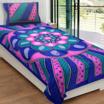 Priyam - Cotton Printed Single Bedsheet With Pillow Cover-Z21JPB499140E