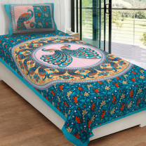 Priyam - Cotton Printed Single Bedsheet With Pillow Cover-Z21JP98EAAE4C