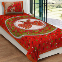 Priyam - Cotton Printed Single Bedsheet With Pillow Cover-Z21JPAA2F6761
