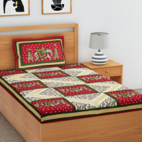 Priyam - Cotton Printed Single Bedsheet With Pillow Cover-Z21JPE7F01870
