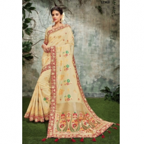 Weaved Silk Zari And Cord Embroidery Saree With Blouse-017ST4D82AFA3