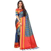 Greeny - Silk Printed Saree With Blouse-210STB7F97CA4