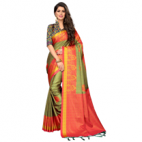 Greeny - Silk Printed Saree With Blouse-210ST2915ABB9