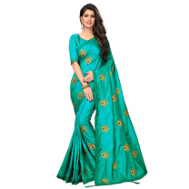 Greeny - Silk Embroidery Saree With Blouse-210ST092097C4