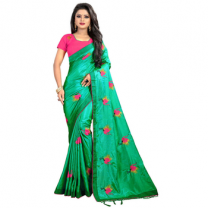 Greeny - Silk Embroidery Saree With Blouse-210ST13DFD7B2