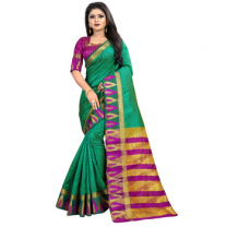 Greeny - Jacquard Silk Woven Saree With Blouse-210ST6FDC5CE2