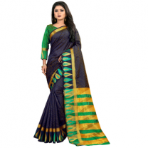 Greeny - Jacquard Silk Woven Saree With Blouse-210STF9A712C6
