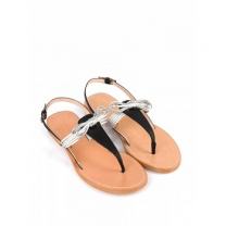 Mellow Yellow Flat Sandals Baness Silver