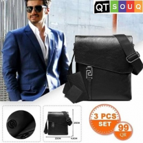 Men's Stylish Side Shoulder Black Leather Bag (3 Pcs Set)