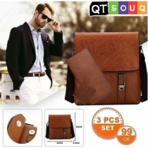 Men's Stylish Side Shoulder Brown Leather Bag (3 Pcs Set)