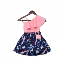 Fayon Kids Pink Lycra Top with Printed Skirt