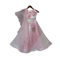 Fayon Kids Pink Sequins Choli with Lehenga