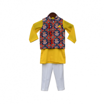 Fayon Kids Blue Patola Nehru Jacket with Kurta & Pant