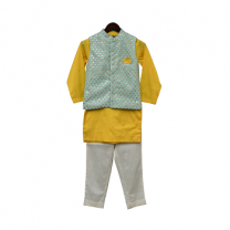 Fayon Kids Aqua Embroidery Nehru Jacket Set