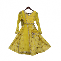 Fayon Kids Yellow Lucknowi Anarkali Dress