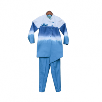 Fayon Kids Blue & White Shaded Ajkan With Pant