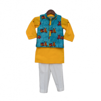 Fayon Kids Auto Print Nehru Jacket With Yellow Kurta & Pant