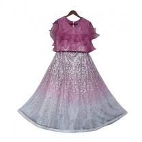 Fayon Kids Purple Glitter Top With Organza Frill & Lehenga