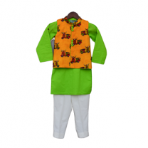Fayon Kids Auto Print Nehru Jacket with Green Kurta & Pant