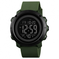 Skmei ABS Casing Shock Resistant Countdown Timer Dual Time Silica Strap Sports Army Green Watch for Men and Boys