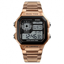 Skmei Digital White Dial Men's Watch - 1335 Rose Gold