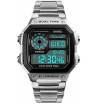 Skmei Digital White Dial Men's Watch - 1335 Silver