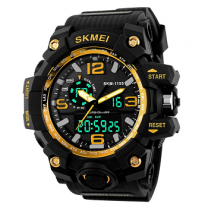 Skmei Quartz Yellow Dial Analog Black Band Men's Watch (SKM-M011)