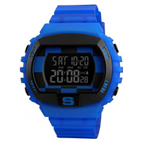 Skmei 1304 Special Design Blue Waterproof Digital Black Dial Men's Sports Watch