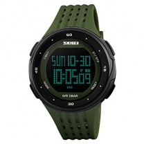 Skmei Military Green Countdown 50m Waterproof Digital Led Large Face Sports Watch for Men & Women