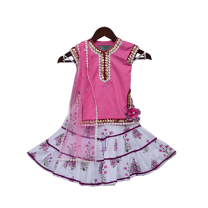 Fayon Kids Pink Kurti With Printed Sharara & Dupatta