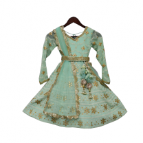 Fayon Kids Green Lucknowi Anarkali Dress