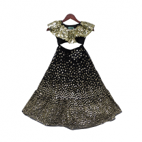 Fayon Kids Black Soft Sequins Choli With Lehenga